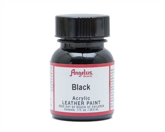 ANGELUS ACRYLIC PAINT BLACK #001 29ML USE ON LEATHER, VINYL OR FABRIC