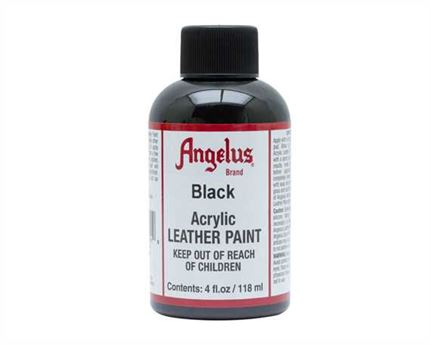 ANGELUS ACRYLIC PAINT BLACK #001 118ML USE ON LEATHER, VINYL OR FABRIC