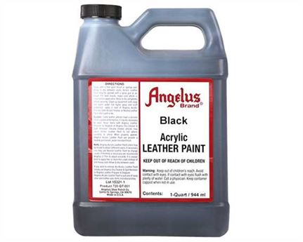 ANGELUS ACRYLIC PAINT BLACK #001 (1 QRT) 946ML USE ON LEATHER, VINYL OR FABRIC