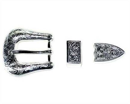 BUCKLE 3 PC BELT SET SILVER PLATE FINISH 20MM