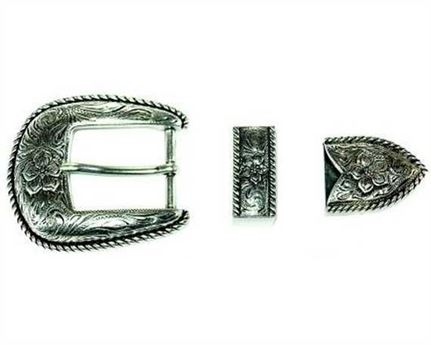 BUCKLE 3 PC BELT SET DULL NICKEL FINISH 32MM