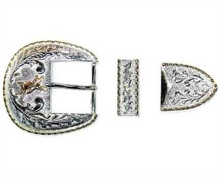 BUCKLE 3 PC BELT SET WITH BULL RIDER MOTIF SHINY FINISH