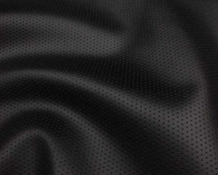 BRIDGE OF WEIR CALEDONIAN BLACK PERFORATED UPHOLSTERY HIDE 1.0MM HAIRCELL PRINT LEATHER