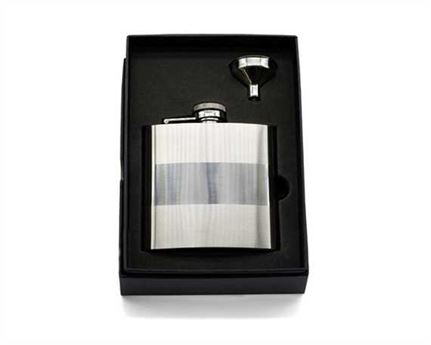 HIP FLASK 6 OZ IN PRESENTATION BOX BANDED STAINLESS STEEL