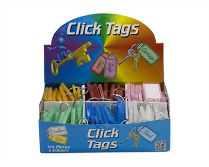 BIRCH CLICKTAGS PER BOX OF 100 LARGE KEY LABELS WITH KEY RING