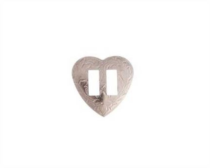 CONCHO HEART SLOTTED NICKEL PLATE 25MM
