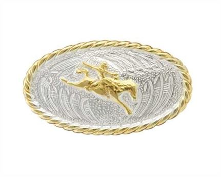 CONCHO BRONCO RIDER OVAL SILVER PLATE WITH GILT