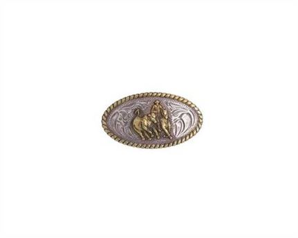CONCHO CAMP DRAFTER OVAL SILVER PLATE WITH GILT