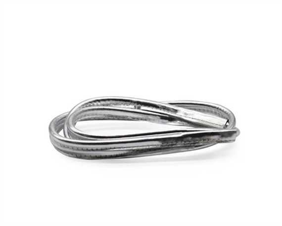 BAG HANDLE LEATHER 6MM X 80CM METALLIC SILVER (PAIR)