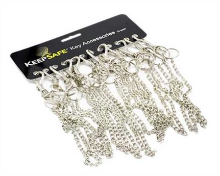 KEEPSAFE HIPSTER BILLET HOOK WITH CHAIN & KEY RING CARD OF 12