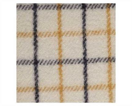 FABRIC 80% WOOL COLLAR CHECK CREAM RCC41 100CM WIDE PER L/M