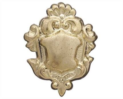 LEAD FILLED ORNAMENTS ORNATE SHIELD LGE BRASS 25MM