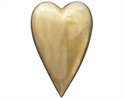 ELONGATED HEART HARNESS ORNAMENTS BRASS 32MM