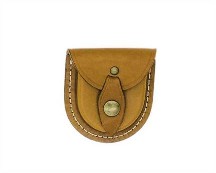 COIN POUCH WITH BELT LOOP LEATHER TAN
