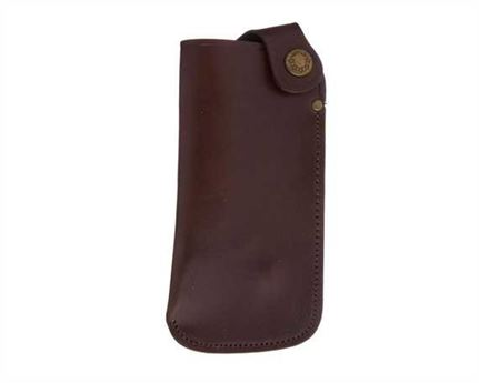 GLASSES POUCH WITH BELT LOOP LEATHER BROWN