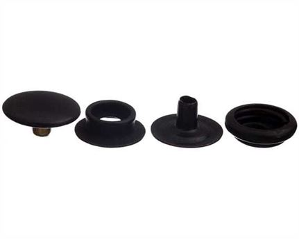 PRESS STUD FULL SET BLACK LARGE DU (EYELET, SOCKET, STUD, TOP/CAP) PKT 25