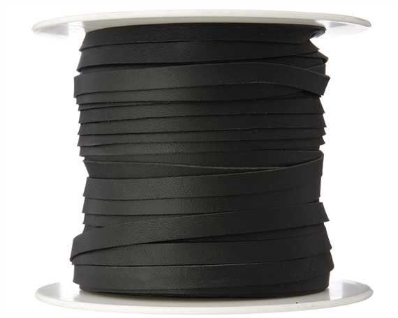 KANGAROO LACING FLAT 6MM BLACK 50M ROLL AUSTRALIAN MADE