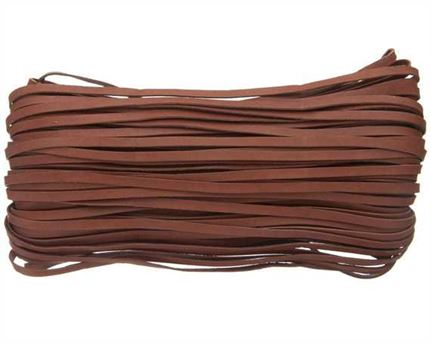 KANGAROO LACING FLAT 3MM BROWN (BRANDY) 23M HANK AUSTRALIAN MADE
