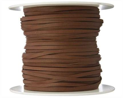 KANGAROO LACING FLAT 3MM BROWN (BRANDY) 100M ROLL AUSTRALIAN MADE