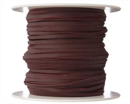 KANGAROO LACING FLAT 3MM BURGUNDY 100M ROLL AUSTRALIAN MADE