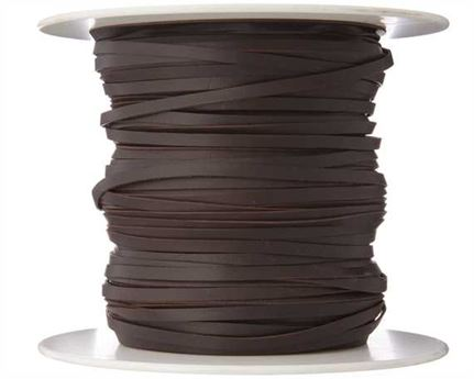 KANGAROO LACING FLAT 3MM DARK BROWN 100M ROLL AUSTRALIAN MADE