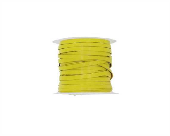 THONGING KANGAROO FLAT 6MM LACING YELLOW 50M ROLL