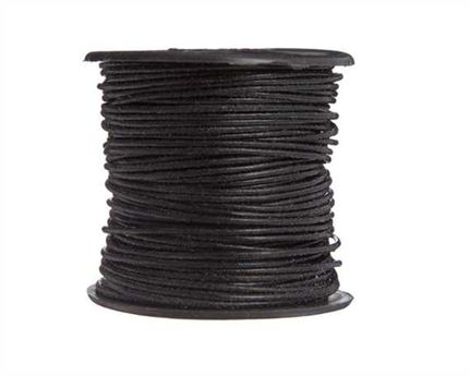 ROUND THONGING 1MM #002 BLACK 25M SPOOL