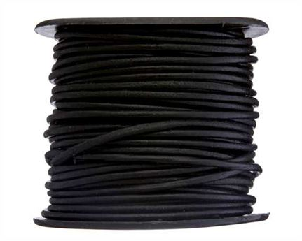 ROUND THONGING 2MM #002 BLACK 25M SPOOL