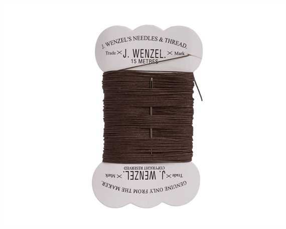 THREAD WAXED LINEN BROWN 15M CARD WITH NEEDLE