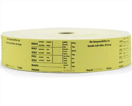 SHOE REPAIR TICKETS PLAIN YELLOW (1000 per roll)