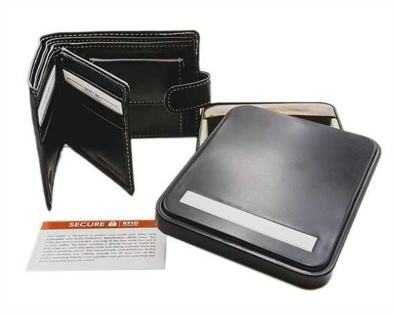 WALLET NAPPA LEATHER 6 X C/C, COIN, CLIP, WINDOW, BLACK/CONTRAST THREAD RFID AND TIN
