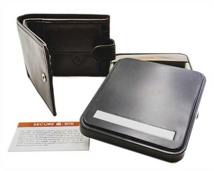 WALLET NAPPA LEATHER 3 X C/C, COIN, CLIP, ZIP, BLACK RFID AND TIN