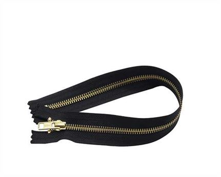 ZIP CLOSED END #5 BRASS BLACK TAPE 48 CM