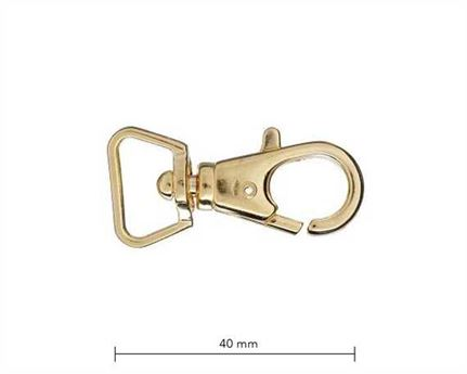 BAG CLIP F3 GILT (GOLD COLOUR) 15MM EYE 40MM LONG
