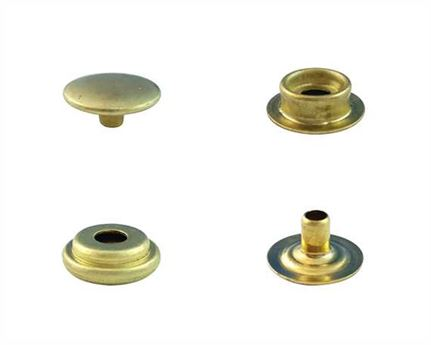 PRESS STUD FULL SET GILT LARGE DU (EYELET, SOCKET, STUD, TOP/CAP) PKT 25