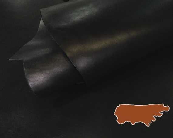 VEG TANNED COW SIDE 2.2MM BLACK GREAT CRAFT LEATHER.