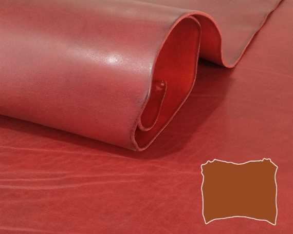 VEG TANNED DOUBLE SHOULDER RED MILLED 3.6/3.8MM LEATHER FROM TUSCANY ITALY.
