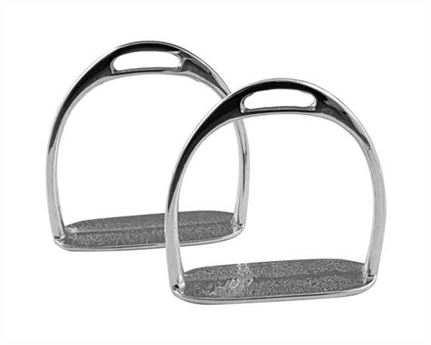 ROCKING HORSE STIRRUP IRONS NICKEL PLATE 65MM TREAD WIDTH