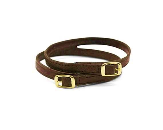 STRAP FOR SHOE BUCKLE GILT DARK BROWN 10MM