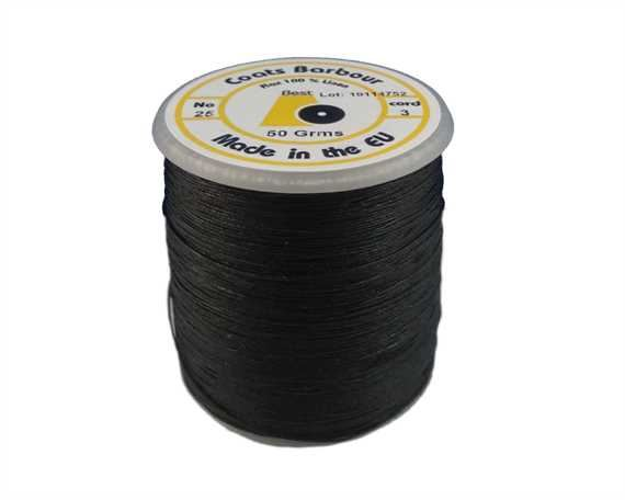 THREAD LINEN 3 CORD #25 BLACK 50GM SPOOL