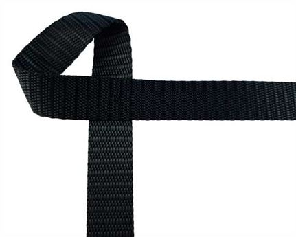 WEBBING POLYESTER HEAVY BLACK 20MM (PER L/MTR)
