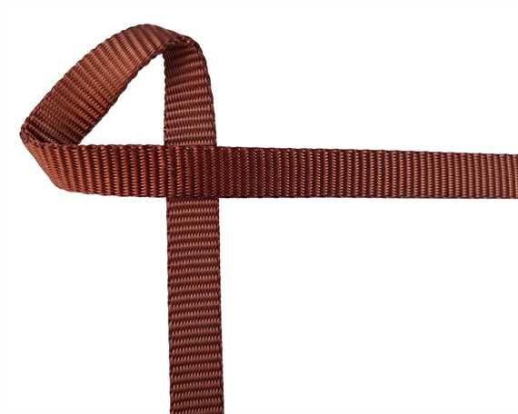 WEBBING POLYESTER HEAVY BROWN 102 STYLE 15MM (PER L/MTR)